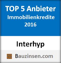 Auszeichnung Interhyp - Der Baufinanzierer gehört zu den Top 5 Immobilienkredit Anbieter