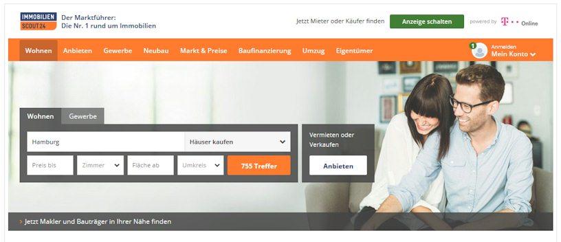 Startseite mit Sucheingabe von Immoscout24