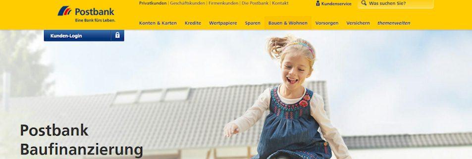 Webseite der Postbank zur Baufinanzierung